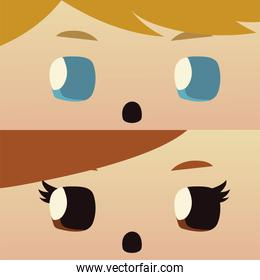 cartoon boy and girl face characters, kids design