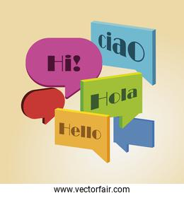 speech bubbles with different text color, talk bubbles collection