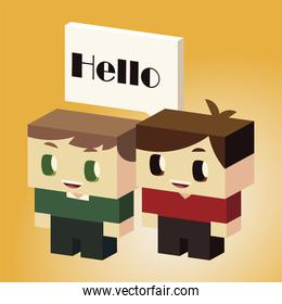 kids, little boys with speech bubble, say hello, isometric style