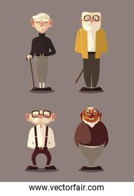 different old men character cartoon male senior