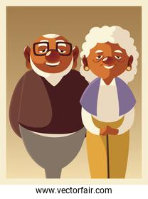 portrait cute couple senior male and female, grandparents characters