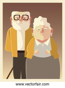 cute couple senior male and female, grandparents characters