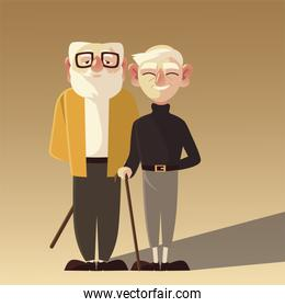 senior people, two grandpa with glasses and walk stick characters