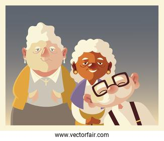 senior people, cute grandpa and grandmothers characters together