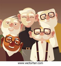 senior people men characters cartoon with glasses