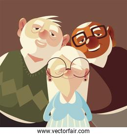 cute senior grandparents men cartoon characters