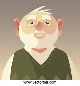 senior people, portrait cartoon character old man