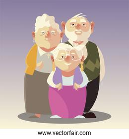 senior people, two elderly women and old man cartoon characters