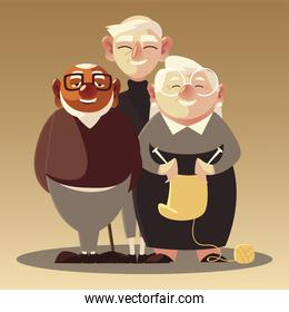 senior people, old men characters, elderly woman with wool and knitting needles
