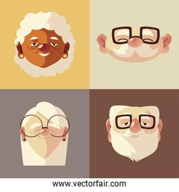 senior people, cute faces old men and women characters with glasses