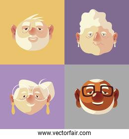 senior people, faces elderly grandfathers and grandmother cartoon