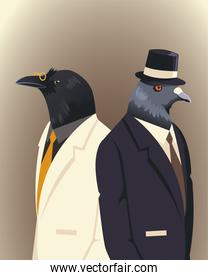 people art animals, cat dove and raven with suit tie and hat accessories vintage clothes