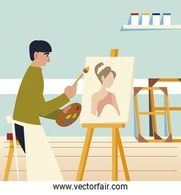 man sitting paints on canvas with oil paints and brush a female