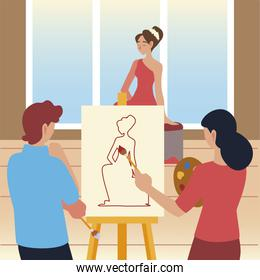 paint class art, male and female students with brush painting a model in canvas