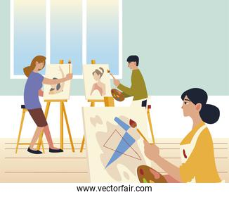 paint class, people painting, drawing and making artworks