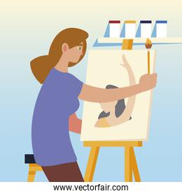paint class art, woman student painting in the studio