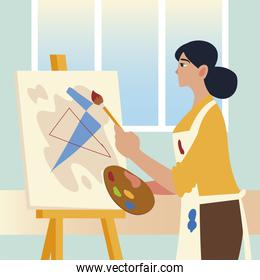 paint class art, woman student painting anstract picture in the studio