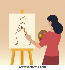 paint class art, woman student painting sketching female model