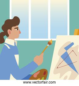 painting class, man with canvas paint abstract picture in studio