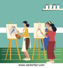 paint class art, women painting abstract and picture female model in the studio