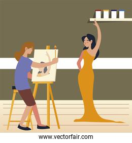 paint class art, girl sitting painting a female model in the studio