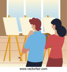 paint class art, man and woman looking an empty canvas in studio