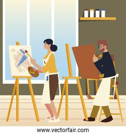 paint class art, man with canvas in hands and woman painting an abstract picture