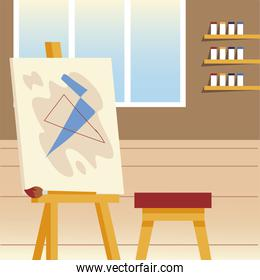 paint class art studio with canvas easel chair brush