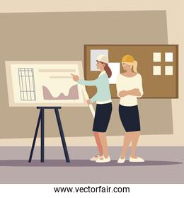 builders and architects, female workers construction business planning