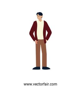 man character cartoon standing, male over white background