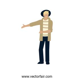 hipster man character cartoon standing, design on white background
