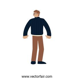 man with glasses character cartoon standing, design on white background