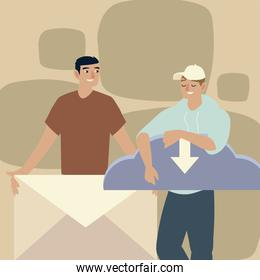 men with objects envelope and computing