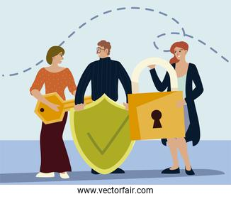 people holding different objects include key padlock and shield with check mark