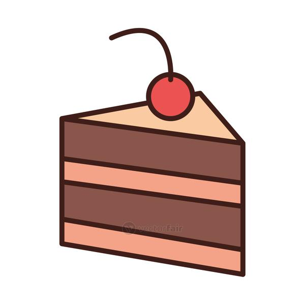 breakfast slice chocolate cake with fruit line and fill style