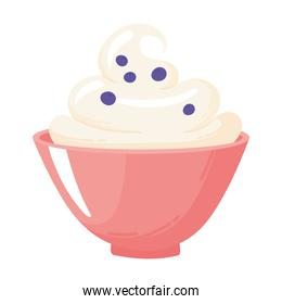 milk porridge with berry, dairy product cartoon icon