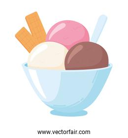 scoops ice cream in bowl, milk dairy product cartoon icon