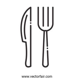 chef, fork and knife kitchen utensil line style icon