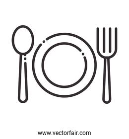chef, dish spoon and fork kitchen utensil line style icon