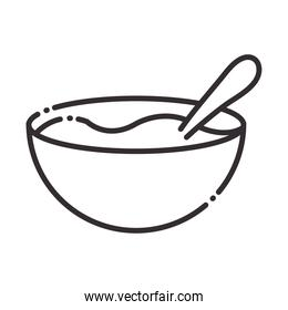 chef, bowl with spoon kitchen utensil line style icon