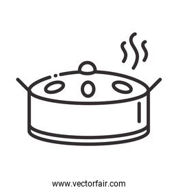chef, cooking pan food hot utensil line style icon