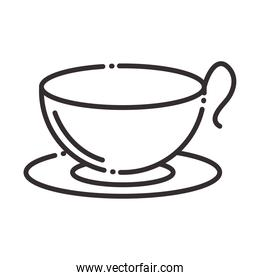 chef, coffee cup on dish kitchen utensil line style icon