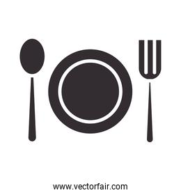 chef, dish spoon and fork kitchen utensil silhouette style icon