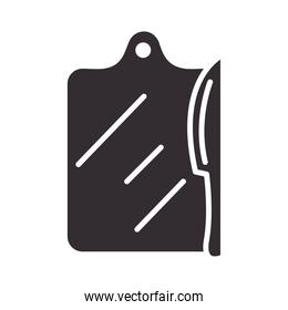 chef, board cutting and knife kitchen utensil silhouette style icon