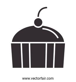 chef, cupcake with fruit dessert snack silhouette style icon