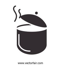 chef, pot with hot soup kitchen menu silhouette style icon