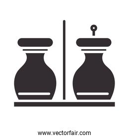 chef, salt and pepper kitchen utensil silhouette style icon