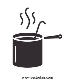 chef, pot with ladle kitchen utensil silhouette style icon