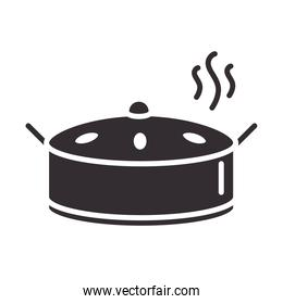 chef, cooking pan food hot utensil silhouette style icon