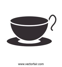 chef, coffee cup on dish kitchen utensil silhouette style icon